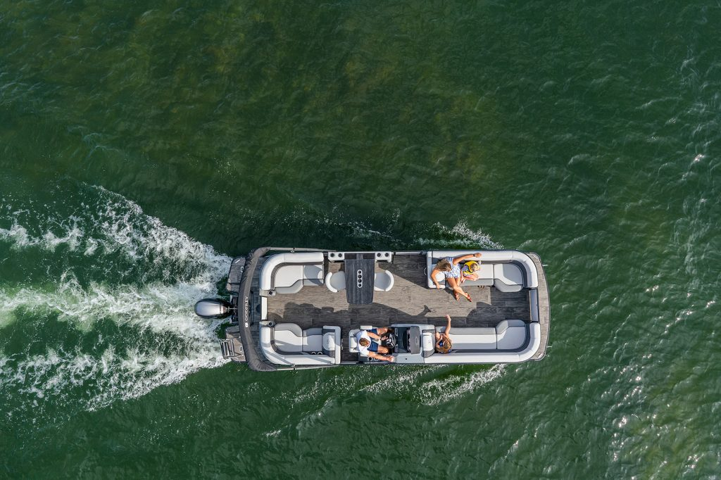 Pontoon boat from above